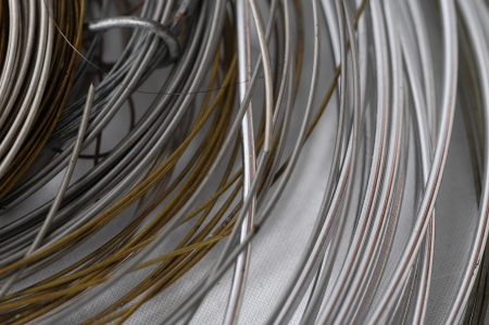 Lot of Different Metal Wire Isolated on a White Background photo