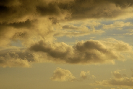Cloudscape, Colored Clouds at Sunset near the Ocean photo