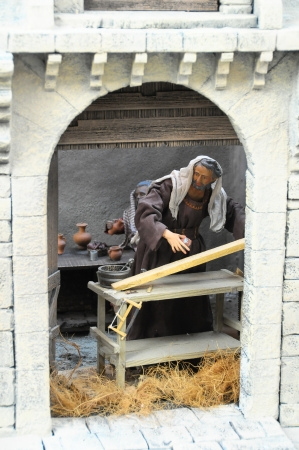 Traditional European Statuette in a Christmas Crib Nativity Scene photo