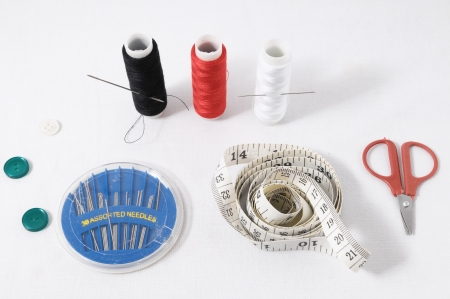 One Sewing Kit Isolated on a White Background photo