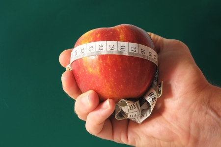losing control: Diet Apple and Meter on the Hand over a Colored