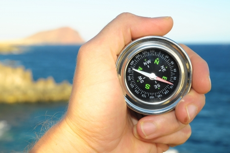 Orientation Concept a Male Hand Holding Metal Compass photo