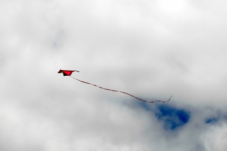 One Kite Flying over a Cloudy Sky, in Canary Islands, Spain