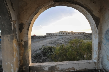 Abandoned Buildings of a Military Base at Sunset Stock Photo - 25258922