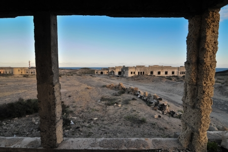 Abandoned Buildings of a Military Base at Sunset Stock Photo - 25259070