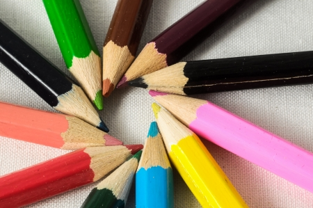 New Pencils Textured Set on a Colored  photo