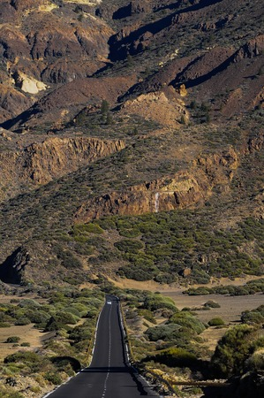 volcan: Desert Lonely Road Landscape in Volcan Teide National Park, Tenerife, Canary Island, Spain
