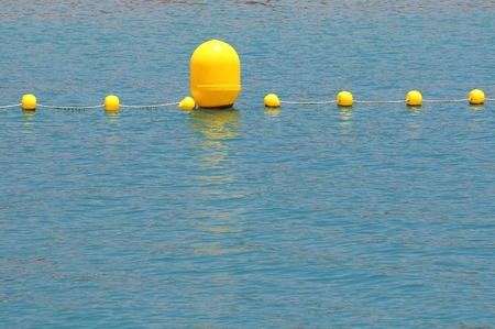 Some Yellow Floaters over the Blue of Atlantic Ocean photo