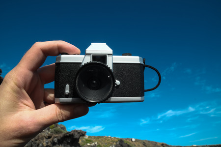 Photography Concept Classic Vintage 35mm Gray Plastic Camera