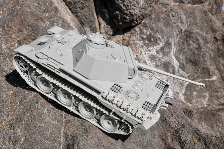 Old Ancient Vinatge Figurine Model Gray Tank From World War photo