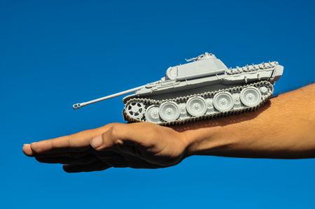 Old Ancient Vinatge Figurine Model Gray Tank From World War photo