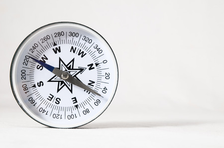 Orientation Concept - Analog Compass on a White  photo