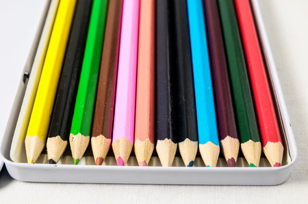New Pencils Textured Set on a White Background photo