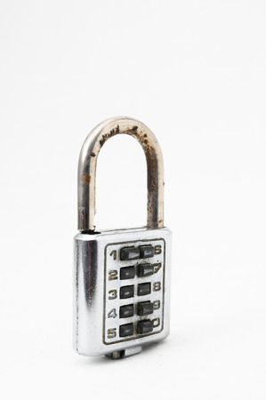 Vintage Used Combination Safe Lock on a White Background photo