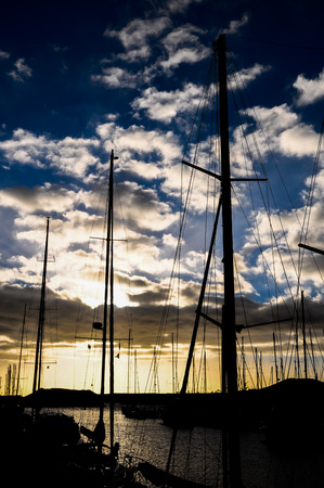 Silhouette Masts of Sail Yacht in Mmarine photo