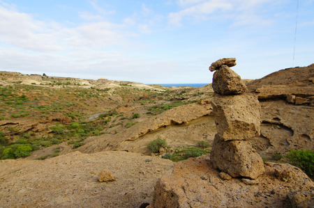 equipoise: Buddist Volcanic Rocks Column in Tenerife Canary Islands Spain