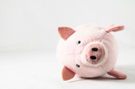 The pink pig cloth figurine on a white background photo