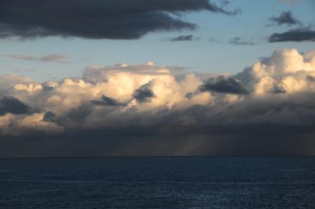 Stormy Dark Clouds over the Atlantic Ocean Water