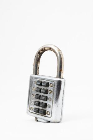 Vintage Used Combination Safe Lockon a White Background photo