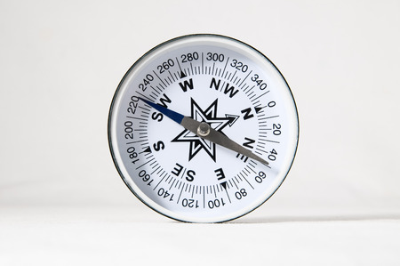 Orientation Concept - Analogic Compass on a White Background photo