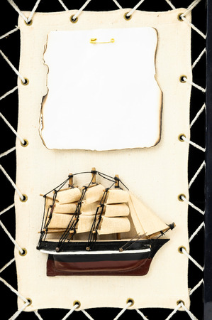 Beautiful Vintage old Wooden Pirate Sail Boat Figurine photo
