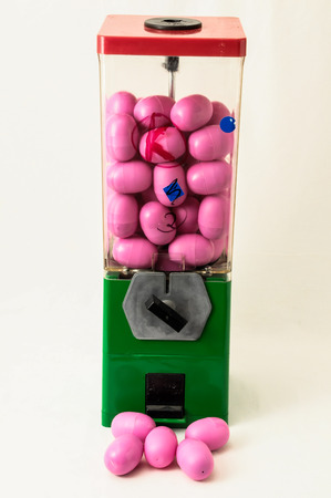 Vintage Eggs Slot Machine on White Background photo