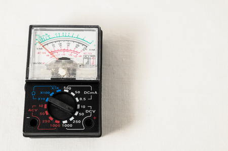 engineer's: Classic New Electricity Simple Tester Tool on a White Background Stock Photo