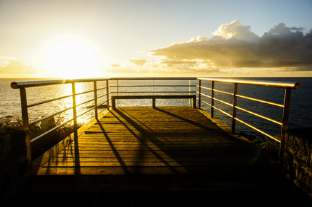 lake naivasha: Sunrise on a Pier over Atlantic Ocean in Tenerife Canary Islands Spain