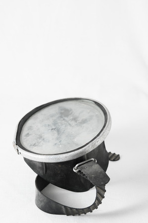 Old Vintage Dirty Diving Mask on a White Background photo