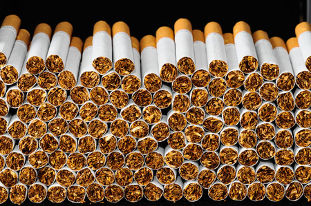 Close-up of Tobacco Cigarettes Background or texture Standard-Bild