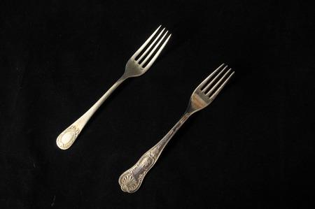 grunge silverware: Ancient Vintage Silver Flatware