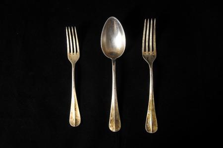 silver flatware: Ancient Vintage Silver Flatware