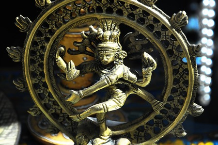 An Indian God Golden religion Statue photo