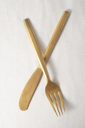 Ancient Vintage Silver Flatware on a White Background photo