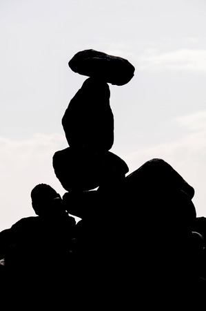 Buddhist Silhouette Traditional Stone Pyramids in Tenerife Canary Islands Spain photo