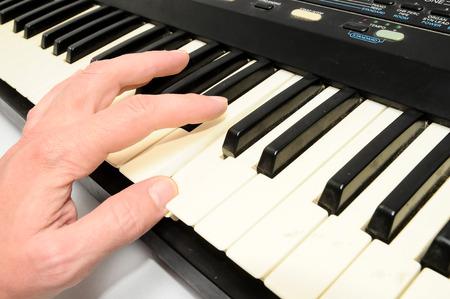 Black and White Digital Piano keyboard closeup photo