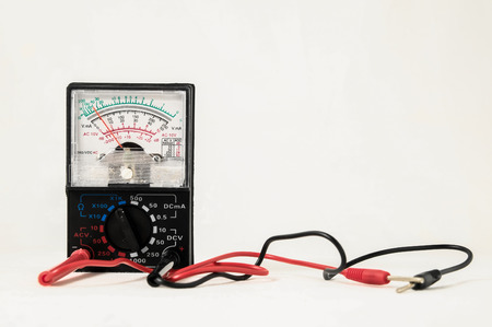 ammeter: Classic New Electricity Simple Tester Tool on a White Background Stock Photo