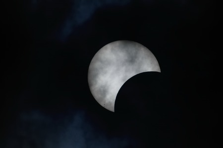Partial Solar Eclipse on a Cloudy Day  photo