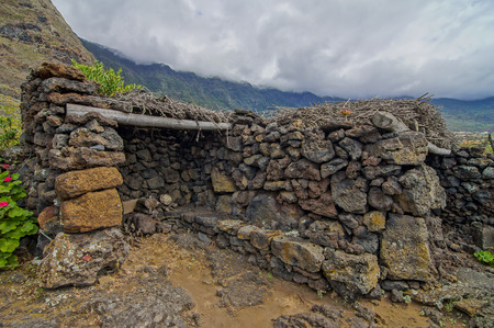 Exterior of Abandoned Stone Made Houses In a Medieval Village El Hierro Island Spain photo