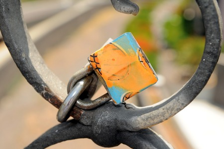 pont: A Colored Metal Lover s Lock on a Bridge