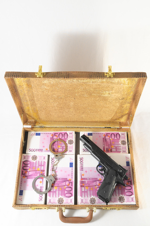 One Suitcase Full of Pink 500 Euros Banknotes photo