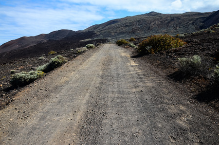disappears: Long Straight Dirt Desert Road disappears into the Horizon