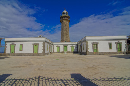 meridian: Lighthouse at the Western Place of the Canary Islands Faro de Orchilla point of the prime meridian until 1894 Stock Photo