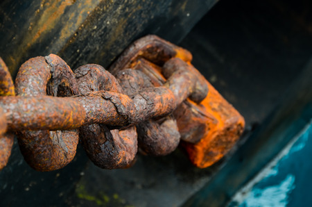 Rusty Ship Anchor Chain On Dry Coast In The Port photo