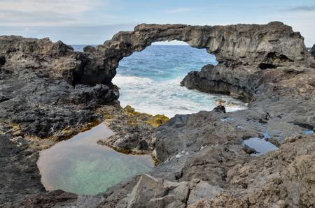 bonanza: Natural Stone Arch in El Hierro Canary Islands Stock Photo