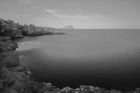 Infrared BW Picture of the Ocean with Long Exposure photo