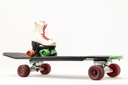 Vintage Style Black Skateboard on a white Background photo
