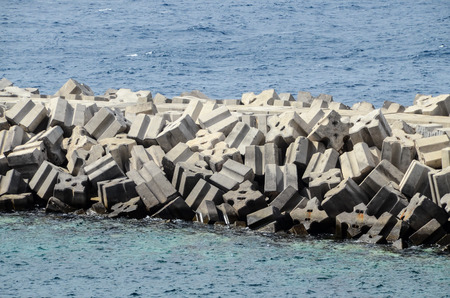 robben island: Stone Pier on the blue Atlantic Ocean Water