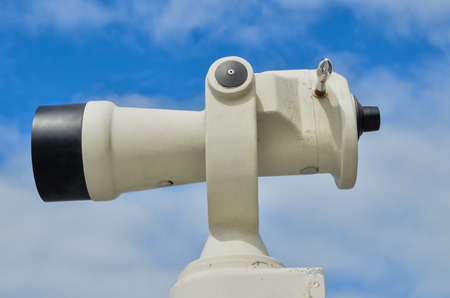 operated: Coin Operated Telescope For Beach Observation, Blue Sky And Clouds