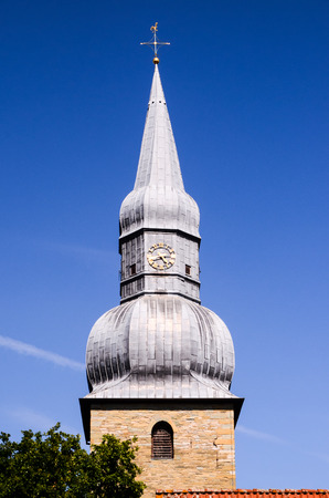 belfry: Typical Gothic Belfry Church Tower in Germany Stock Photo